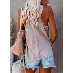 Solid V-hals Uten ermer Casual Sexy Tank topper