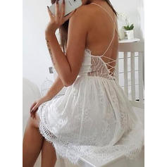 Lace/Solid Sleeveless A-line Above Knee Sexy/Party/Boho Dresses