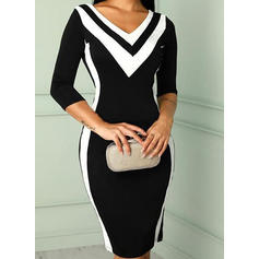 Color Block 3/4 Sleeves Bodycon Knee Length Casual/Elegant Dresses
