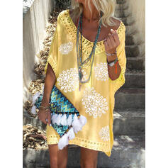 Lace/Print 1/2 Sleeves Shift Above Knee Casual/Vacation Dresses