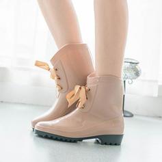 Femmes PVC Talon bas Bottes Bottes mi-mollets Bottes de pluie avec Dentelle chaussures