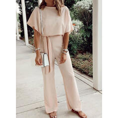 Solid Round Neck 1/2 Sleeves Casual Jumpsuit