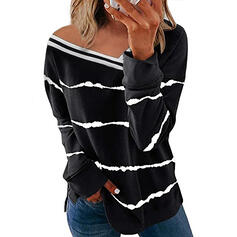 Print Striped V-Neck Long Sleeves Casual Blouses