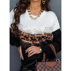 Blocchi di colore leopardo Paillettes Girocollo Casual Maglioni