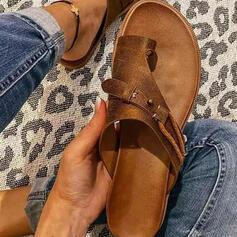 Femmes PU Talon plat Sandales Chaussures plates À bout ouvert Chaussons Anneau d'orteil avec Ouvertes Entrecroisement chaussures