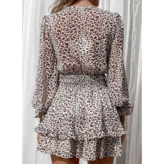 Leopard Long Sleeves/Puff Sleeves A-line Above Knee Casual Skater Dresses