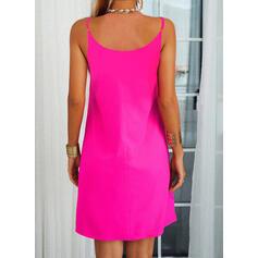 Color Block/Leopard Sleeveless Shift Knee Length Casual Slip Dresses
