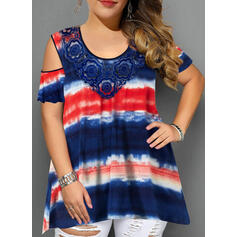 Lace Tie Dye Cold Shoulder Short Sleeves Casual Plus Size Blouses