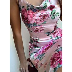 Estampado/Floral Sem mangas Bodycon Comprimento do joelho Sexy/Casual/Férias Alça fina Vestidos