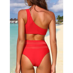 Solid Color One-Shoulder Sexy Elegant Beautiful Bikinis Swimsuits