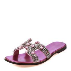 Women's PU Flat Heel Sandals Flats Slippers With Rhinestone shoes
