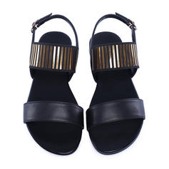 Women's Real Leather Flat Heel Sandals Flats Peep Toe Slingbacks With Buckle shoes