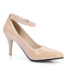 Femmes Cuir verni Talon stiletto Escarpins Bout fermé Mary Jane avec Boucle chaussures