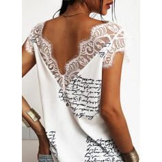 Backless Figure Lace Print V-Neck Sleeveless Tank Tops