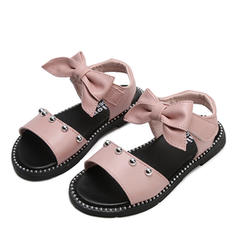 Girl's Peep Toe Leatherette Flat Heel Sandals Flats Flower Girl Shoes With Bowknot Velcro Rivet