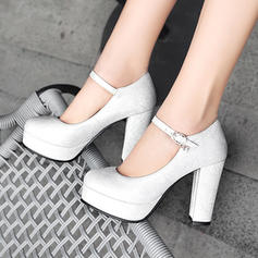 Frauen PU Stämmiger Absatz Absatzschuhe Plateauschuh mit Schnalle Schuhe