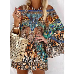 Animal Print/Leopard Long Sleeves/Flare Sleeves Shift Above Knee Casual/Vacation Tunic Dresses