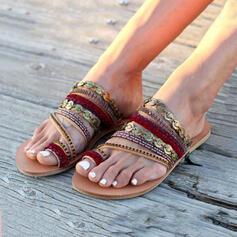 Femmes PU Talon plat À bout ouvert Chaussons avec Paillette chaussures