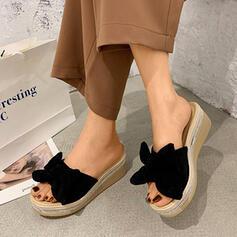Mulheres Camurça Plataforma Sandálias Calços Chinelos com Bowknot Cor sólida sapatos