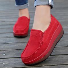 Women's Suede Wedge Heel Platform Closed Toe Wedges shoes