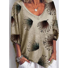 Print V-Neck 1/2 Sleeves Casual Knit T-shirts