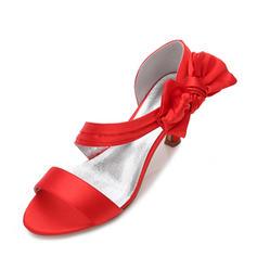 Frauen Seide wie Satin Stöckel Absatz Peep-Toe Absatzschuhe Sandalen mit Bowknot