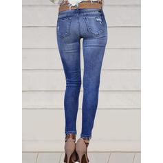 Solid Long Casual Sexy Plus Size Pocket Shirred Ripped Pants Denim & Jeans