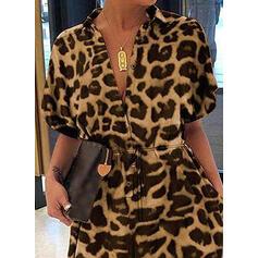 Print Animal V-Neck Short Sleeves Casual Jumpsuit