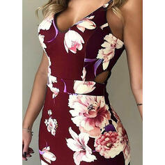 Print/Floral Sleeveless Sheath Above Knee Sexy/Party Slip Dresses