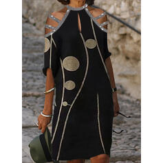 Print/Sequins 1/2 Sleeves Shift Knee Length Casual Tunic Dresses