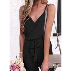 Solid Spaghetti Straps Sleeveless Casual Jumpsuit