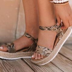 Dla kobiet PU Płaski Obcas Sandały Otwarty Nosek Buta Z Klamra Nadruk Zwierzęcy obuwie