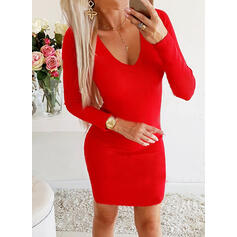 Solid V-Neck Long Sexy Sweater Dress