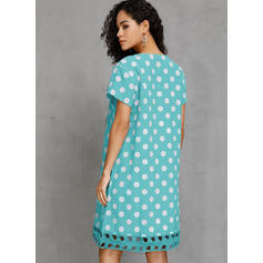 PolkaDot Short Sleeves Shift Knee Length Casual Dresses