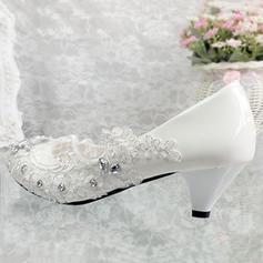 Women's Leatherette Flat Heel Closed Toe Pumps With Rhinestone Stitching Lace