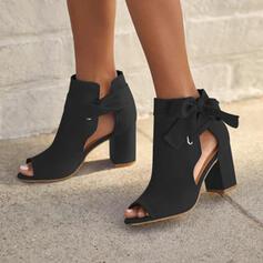 De mujer Ante Tacón ancho Salón Tacones con Bowknot Cordones Agujereado Color sólido zapatos