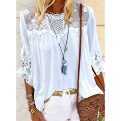 Solid Lace Round Neck 3/4 Sleeves Casual Elegant Blouses