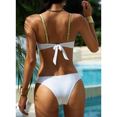 Color Sólido Empujar Correa Sexy Bikinis Trajes de baño