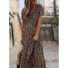 Leopard Short Sleeves Shift Casual/Elegant Maxi Dresses