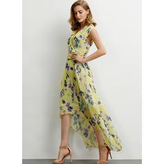 Druck/Blumen Ärmellos A-Linien Asymmetrisch Freizeit/Elegant Kleider