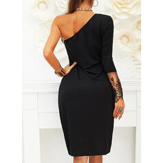 Lace/Solid Long Sleeves Sheath Knee Length Little Black/Sexy/Party/Elegant Dresses
