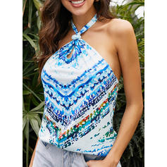 Print Cold Shoulder Sleeveless Casual Sexy Blouses
