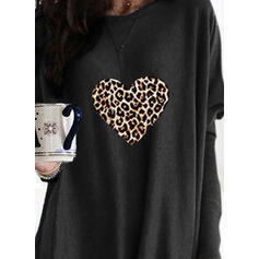 Print Leopard Heart Round Neck Long Sleeves Sweatshirt