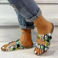De mujer Cuero Tacón plano Sandalias Planos Solo correa Pantuflas con Botones zapatos
