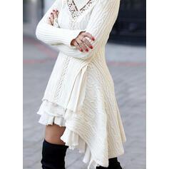 Koronka/Jednolita Długie rękawy Pokrowiec Nad kolana Casual Sweter Sukienki