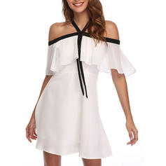 Solid Cold Shoulder Sleeve A-line Above Knee Casual Dresses