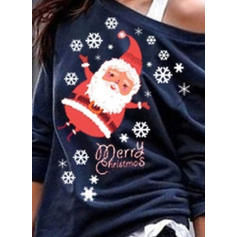 Print One-Shoulder Long Sleeves Casual Christmas T-shirts