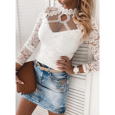 Solid Lace Stand collar Long Sleeves Casual Blouses