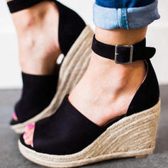 Women's PU Wedge Heel Sandals Wedges With Buckle shoes