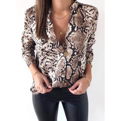 Animal Print V-Neck Long Sleeves Casual Shirt Blouses